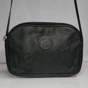 Black FENDI Roma leather crossbody shoulder bag